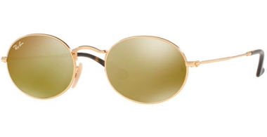 Sunglasses - Ray-Ban® - Ray-Ban® RB3547N OVAL - 001/93 GOLD // GOLD FLASH