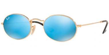 Sunglasses - Ray-Ban® - Ray-Ban® RB3547N OVAL - 001/9O GOLD // LIGHT BLUE FLASH