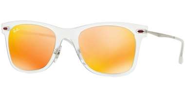 Sunglasses - Ray-Ban® - Ray-Ban® RB4210 - 646/6Q MATTE TRANSPARENT // BROWN MIRROR ORANGE