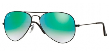 Gafas de Sol - Ray-Ban® - Ray-Ban® RB3025 AVIATOR LARGE METAL - 002/4J SHINY BLACK // MIRROR GREEN GRADIENT