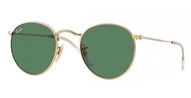 Sunglasses - Ray-Ban® - Ray-Ban® RB3447 ROUND METAL - 001 GOLD // CRYSTAL GREEN