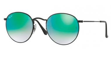 Sunglasses - Ray-Ban® - Ray-Ban® RB3447 ROUND METAL - 002/4J SHINY BLACK // MIRROR GRADIENT GREEN