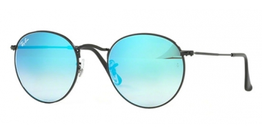 Sunglasses - Ray-Ban® - Ray-Ban® RB3447 ROUND METAL - 002/4O SHINY BLACK // MIRROR GRADIENT BLUE