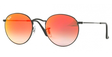 Sunglasses - Ray-Ban® - Ray-Ban® RB3447 ROUND METAL - 002/4W SHINY BLACK // MIRROR GRADIENT RED