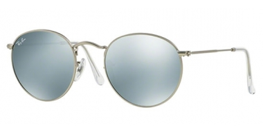 Sunglasses - Ray-Ban® - Ray-Ban® RB3447 ROUND METAL - 019/30 MATTE SILVER // LIGHT GREEN MIRROR SILVER