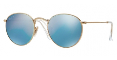 Sunglasses - Ray-Ban® - Ray-Ban® RB3447 ROUND METAL - 112/4L MATTE GOLD // BLUE MIRROR POLARIZED