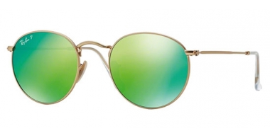Sunglasses - Ray-Ban® - Ray-Ban® RB3447 ROUND METAL - 112/P9 MATTE GOLD // GREEN MIRROR POLARIZED