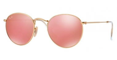 Sunglasses - Ray-Ban® - Ray-Ban® RB3447 ROUND METAL - 112/Z2 MATTE GOLD // BROWN MIRROR PINK