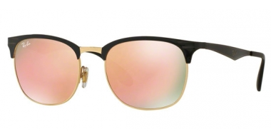 Sunglasses - Ray-Ban® - Ray-Ban® RB3538 - 187/2Y TOP SHINY BLACK ON GOLD // LIGHT BROWN MIRROR PINK