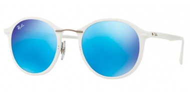 Gafas de Sol - Ray-Ban® - Ray-Ban® RB4242 ROUND II LIGHT RAY - 671/55 SHINY WHITE // GREEN MIRROR BLUE