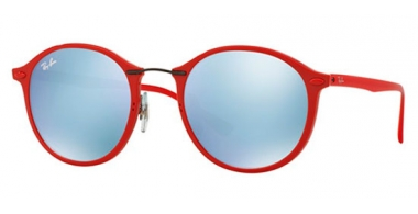 Gafas de Sol - Ray-Ban® - Ray-Ban® RB4242 ROUND II LIGHT RAY - 764/30 SHINY RED // GREEN MIRROR SILVER