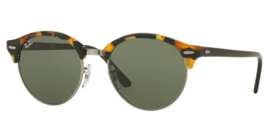 Sunglasses - Ray-Ban® - Ray-Ban® RB4246 CLUBROUND - 1157 SPOTTED BLACK HAVANA // GREEN
