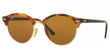Sunglasses - Ray-Ban® - Ray-Ban® RB4246 CLUBROUND - 1160 SPOTTED BROWN HAVANA // BROWN