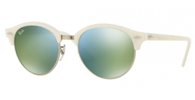 Sunglasses - Ray-Ban® - Ray-Ban® RB4246 CLUBROUND - 988/2X TOP WRINKLED WHITE ON WHITE // GREEN MIRROR GREEN