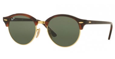 Sunglasses - Ray-Ban® - Ray-Ban® RB4246 CLUBROUND - 990 RED HAVANA // GREEN