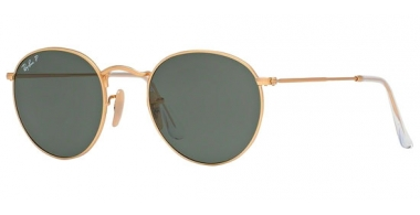 Sunglasses - Ray-Ban® - Ray-Ban® RB3447 ROUND METAL - 112/58 MATTE GOLD // GREEN POLARIZED