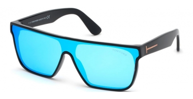 Sunglasses - Tom Ford - WYHAT FT0709 - 01X  POLISHED BLACK // BLUE MIRROR