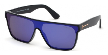 Sunglasses - Tom Ford - WYHAT FT0709 - 01Z  POLISHED BLACK // VIOLET MIRROR