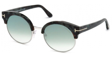 Sunglasses - Tom Ford - ALISSA-02 FT0608 - 55X STRIPED GREY // BLUE MIRROR GRADIENT