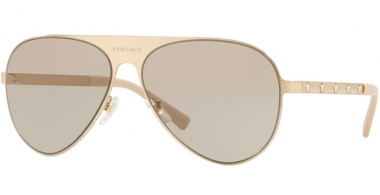 Sunglasses - Versace - VE2189 - 1339/3 BRUSHED PALE GOLD // LIGHT BROWN