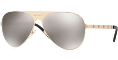 Sunglasses - Versace - VE2189 - 13396G BRUSHED PALE GOLD // LIGHT GREY MIRROR SILVER