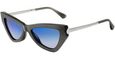 Sunglasses - Jimmy Choo - DONNA/S - Y6U (XT) GREY GLITTER // BLUE SKY MIRROR