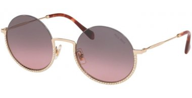 Sunglasses - Miu Miu - SMU 69US CORE COLLECTION - ZVN146 PALE GOLD // PINK GRADIENT GREY
