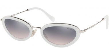 Sunglasses - Miu Miu - SMU 58US CORE COLLECTION - 133GR0 OPAL TALC // PINK GRADIENT VIOLET MIRROR SILVER