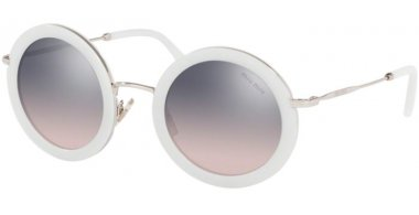 Sunglasses - Miu Miu - SMU 59US CORE COLLECTION - 133GR0 OPAL TALC // PINK GRADIENT VIOLET MIRROR SILVER