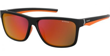 Sunglasses - Polaroid Sport - PLD 7014/S - RC2 (OZ) BLACK ORANGE // RED MIRROR POLARIZED