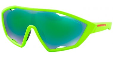 Sunglasses - Prada Linea Rossa - SPS 10US ACTIVE - 4471M2 FLUOR GREEN RUBBER // GREY GREEN MIRROR