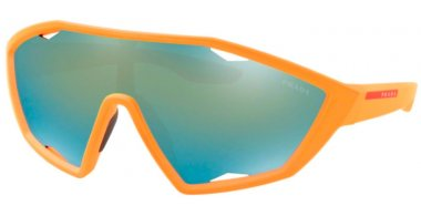Sunglasses - Prada Linea Rossa - SPS 10US ACTIVE - 4484J2 FLUOR ORANGE RUBBER // DARK VIOLET GREY EMERALD IRIDIUM