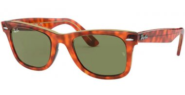 Sunglasses - Ray-Ban® - Ray-Ban® RB2140 ORIGINAL WAYFARER - 12934E LIGHT HAVANA ON TRANSPARENT YELLOW // BOTTLE GREEN