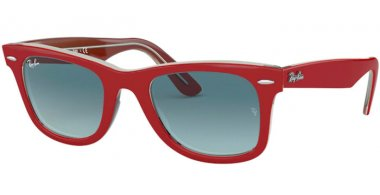 Sunglasses - Ray-Ban® - Ray-Ban® RB2140 ORIGINAL WAYFARER - 12963M RED ON TRANSPARENT GREY // BLUE GRADIENT