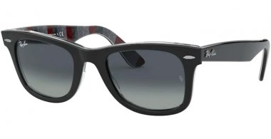 Sunglasses - Ray-Ban® - Ray-Ban® RB2140 ORIGINAL WAYFARER - 13183A BLACK ON CHEVRON GREY BURGUNDY // LIGHT GREY GRADIENT BLUE