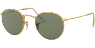 Sunglasses - Ray-Ban® - Ray-Ban® RB3447 ROUND METAL - 001/58 GOLD // GREEN POLARIZED