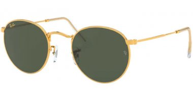 Sunglasses - Ray-Ban® - Ray-Ban® RB3447 ROUND METAL - 919631 LEGEND GOLD // GREEN