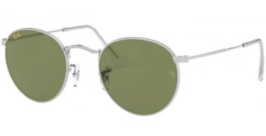 Sunglasses - Ray-Ban® - Ray-Ban® RB3447 ROUND METAL - 91984E SILVER // BOTTLE GREEN