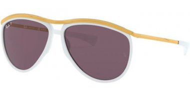 Sunglasses - Ray-Ban® - Ray-Ban® RB2219 OLYMPIAN AVIATOR - 1289AF WHITE // VIOLET POLARIZED