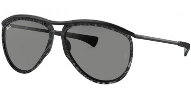 Sunglasses - Ray-Ban® - Ray-Ban® RB2219 OLYMPIAN AVIATOR - 1305B1 TOP WRINKLED BLACK ON BLACK // DARK GREY