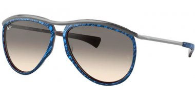 Sunglasses - Ray-Ban® - Ray-Ban® RB2219 OLYMPIAN AVIATOR - 131032 TOP WRINKLED BLUE ON BROWN // CLEAR GRADIENT GREY