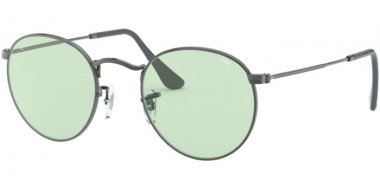 Sunglasses - Ray-Ban® - Ray-Ban® RB3447 ROUND METAL - 004/T1 GUNMETAL // LIGHT GREEN PHOTOCROMIC