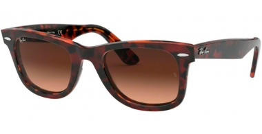 Sunglasses - Ray-Ban® - Ray-Ban® RB2140 ORIGINAL WAYFARER - 1275A5 TOP TRANSPARENT RED ON ORANGE HAVANA // PINK GRADIENT BROWN