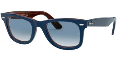 Sunglasses - Ray-Ban® - Ray-Ban® RB2140 ORIGINAL WAYFARER - 12783F TOP BLUE ON RED HAVANA // CLEAR GRADIENT BLUE