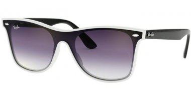 Sunglasses - Ray-Ban® - Ray-Ban® RB4440N BLAZE WAYFARER - 64160U WHITE DEMISHINY // CLEAR GRADIENT VIOLET GRADIENT BLUE