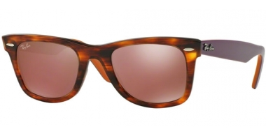 Sunglasses - Ray-Ban® - Ray-Ban® RB2140 ORIGINAL WAYFARER - 11772K STRIPED HAVANA // BROWN MIRROR DARK RED