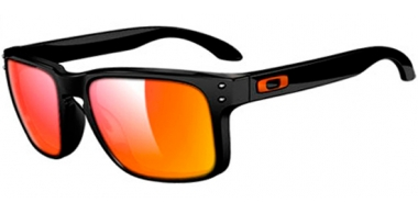 Gafas de Sol - Oakley - HOLBROOK OO9102 - 9102-C07 POLISHED BLACK // RUBY IRIDIUM ICONO TEAM BURNT ORANGE