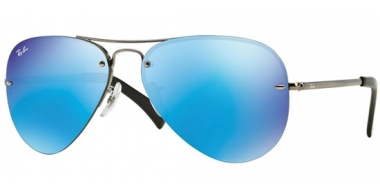 Gafas de Sol - Ray-Ban® - Ray-Ban® RB3449 - 004/55 GUNMETAL // LIGHT GREEN MIRROR BLUE