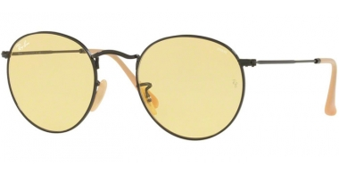 Sunglasses - Ray-Ban® - Ray-Ban® RB3447 ROUND METAL - 90664A BLACK // POTHOCROMIC YELLOW