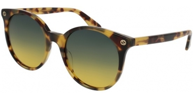 Gafas de Sol - Gucci - GG0091S - 003 BLONDE HAVANA // GREEN YELLOW GRADIENT